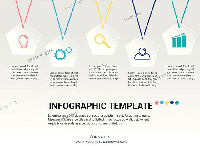 Modern infographics options template with 5 paper polygons. Vector. Can be used for web design, brochure, presentations and workflow layout