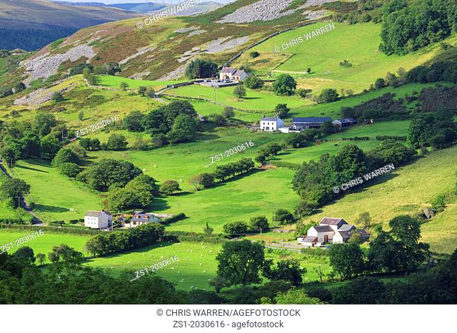 Tawe Valley looking South from near Glyntawe Brecon Beacons National Park Brecon Powys Wales