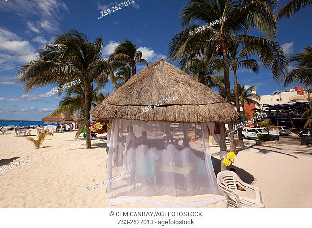 Massage hut and massage ladies at the beach, Isla Mujeres, Cancun, Quintana Roo, Yucatan Province, Mexico, North America