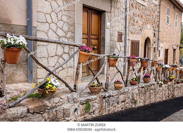Railing, flowerpots, flowers, Valldemossa, Spain, the Balearic Islands, Majorca