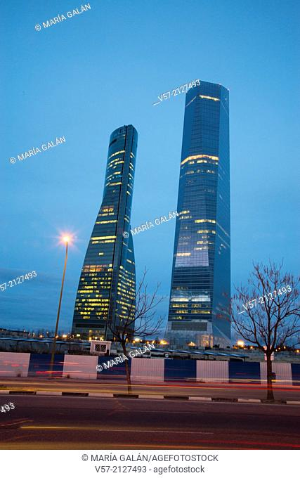 Espacio Tower and Cristal Tower at nightfall. CTBA, Madrid, Spain