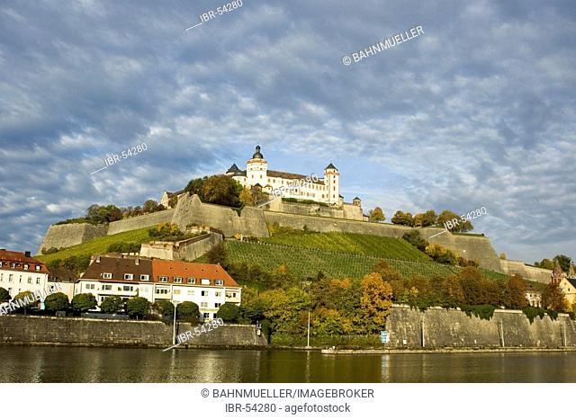 Wuerzburg Würzburg Franconia Bavaria castle over the river Main Germany
