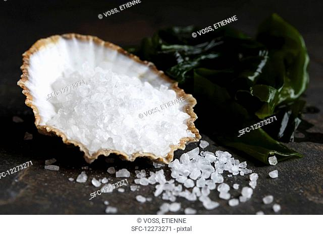 Coarse salt in a sea shell next to wakame seaweed and spilled salt, on dark stone