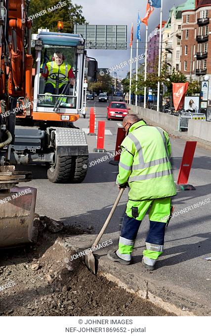 Roadworks in Gothenburg, Sweden