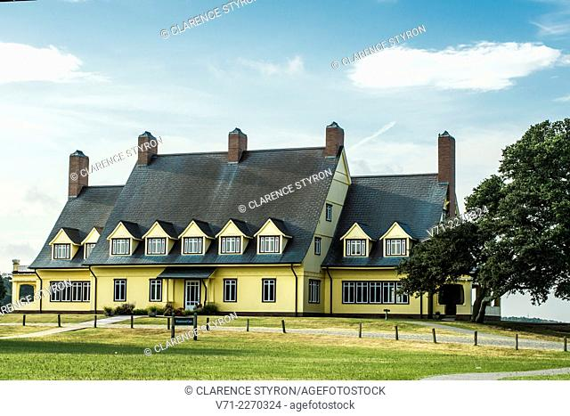 Restored Historic Home of Edwin C. Knight, built in 1920's, North Side, Whalehead Club in Currituck Heritage Park near Corolla, NC USA