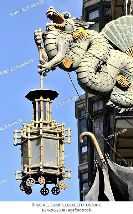Sculpture of a chinese dragon . Bruno Cuadros House, House of Umbrellas. Pre-modernist style from the 19th century. The building was an umbrellas shop owned by...