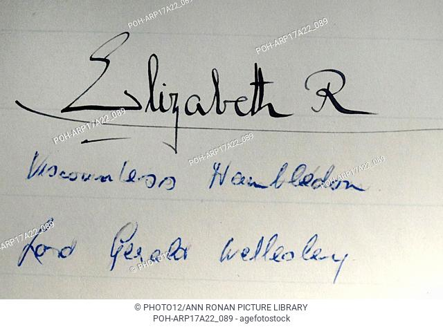 Signature of Queen Elizabeth II of the United Kingdom (1926-) Queen of the United Kingdom, Canada, Australia, and New Zealand, and Head of the Commonwealth