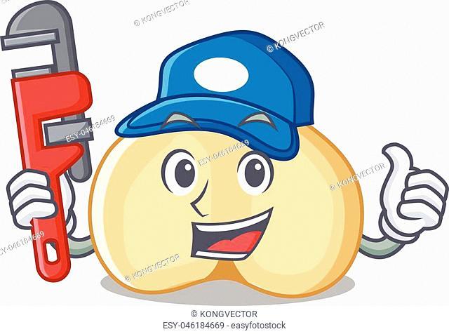 Plumber chickpeas mascot cartoon style vector illustration