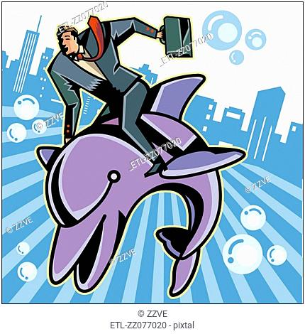 Businessman riding on fish