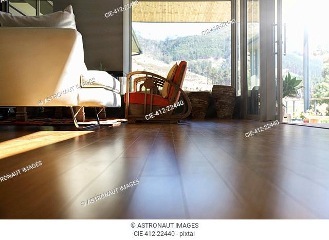 Living room interior hard-wood floor and sofa