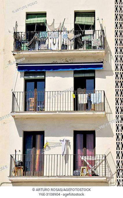 Balconies in a building of the port district of Tarragona. Catalonia, Spain