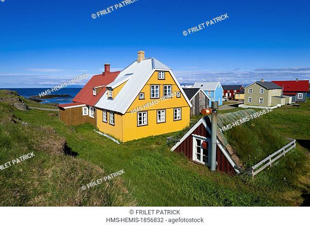 Iceland, Westfjords, Vestfirdir Region, Breidafjordur Bay, Flatey Island