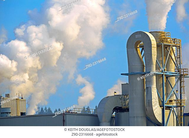 Steam and other emissions coming from pulp mill, Quesnel, British Columbia