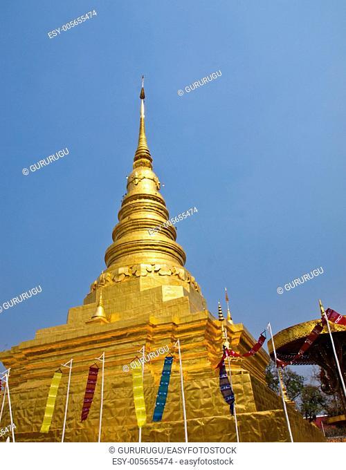 Golden stupa, Wat Phra That chae haeng, Nan Thailand