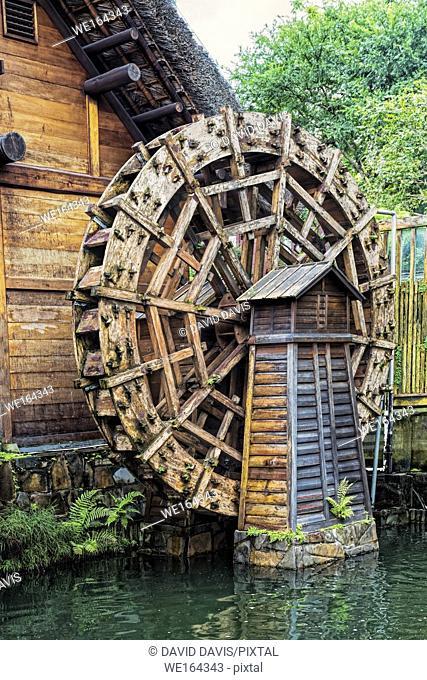 Ancient waterwheel In the Nan Lian Garden, Chi Lin Nunnery, Hong Kong, China