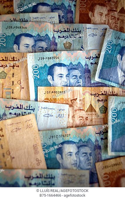 Dirham marroqui, rey de marruecos, moneda africana, moneda marroqui, dinero, moneda, divisa, primer plano, valor, economia, cotización, mercado, compra venta