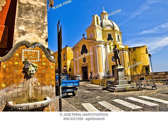 Antonio Scialoja statue, Piazza dei Martiri Square, Chiesa della Madonna delle Grazie, Church, Procida, Phlegraean Islands, Gulf of Naples, Bay of Naples, Italy