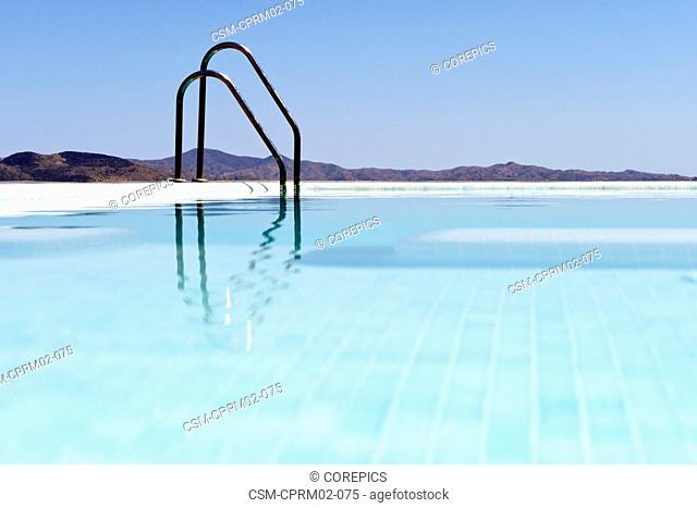 Infinity pool overlooking the Andalucian mountains, near Malaga, Spain