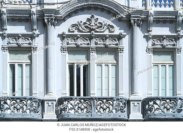 Modernist architecture, The Gabinete Literario cultural institution, Cairasco square, Triana neighborhood, Las Palmas city, Gran Canaria Island