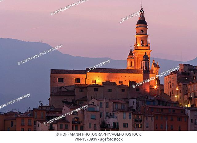 The Basilique St-Michel-Archange in Menton at dusk, France, Europe