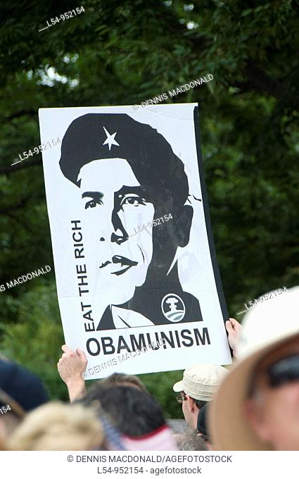Protest Rally Demonstration at U S  Capitol Building Washington DC Against Government Barack Obama Communism Poster