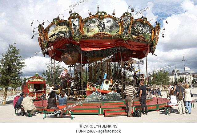 Carousel roundabout inspired by Jules Verne, by the machines of the Ile de Nantes, La Galerie Des Machines, Nantes, France