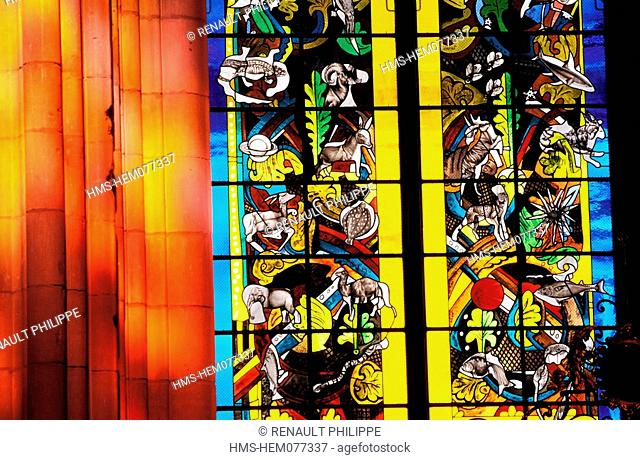 France, Nievre, Nevers, contemporary stained glasses of Saint Cyr and Sainte Julitte cathedral