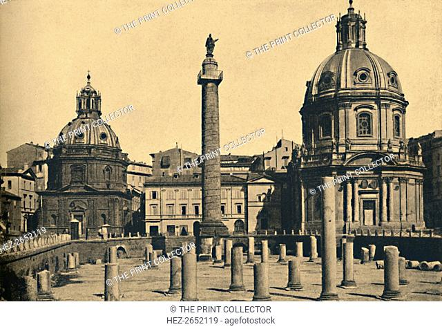 'Roma - Column of Trajan', 1910. Commemorating Roman emperor Trajan's victory in the Dacian Wars with remains of the columns of the Basilica Ulpia