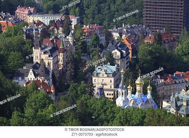 Czech Republic, Karlovy Vary, skyline, general view, aerial view,