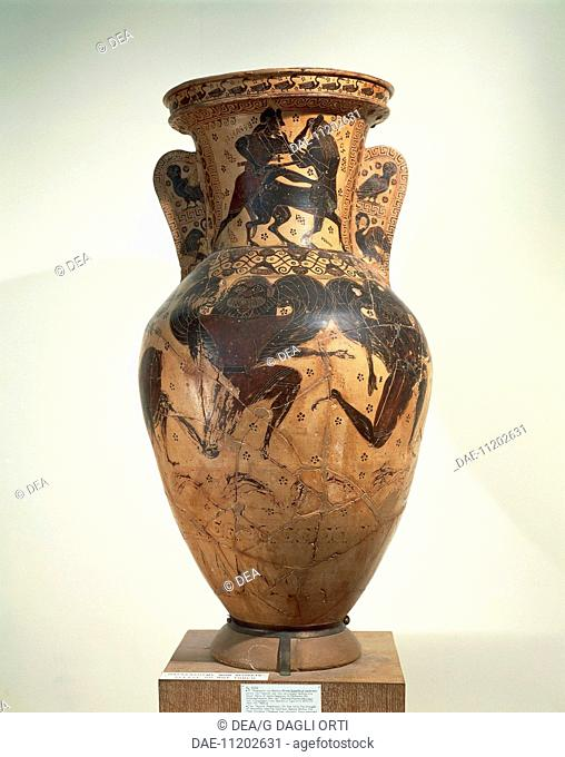 Greek civilization, 7th century b.C. Black-figure pottery. Amphora by the Nessos (Netos) Painter.  Athens, Ethnikó Arheologikó Moussío (National Archaeological...