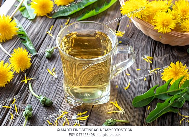 A cup of herbal tea with fresh dandelion flowers and leaves