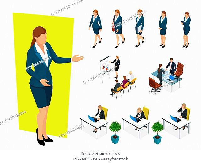 Isometric elegant business women in formal clothes. Base wardrobe, feminine corporate dress code. Business negotiations concept