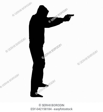 Man in the hood with gun Concept danger outstretched arms icon black color vector illustration flat style simple image