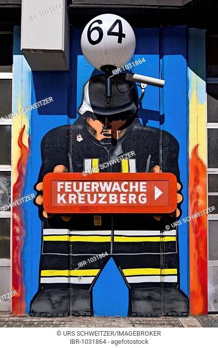 Mural art, Kreuzberg fire brigade, Berlin, Germany, Europe