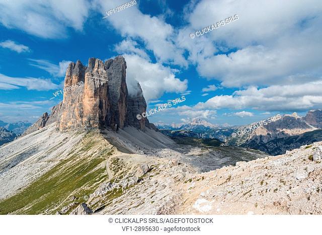 Europe, Italy, Dolomites, Veneto, Belluno. Tre Cime di Lavaredo seen from Lavaredo fork in a summer sunny day