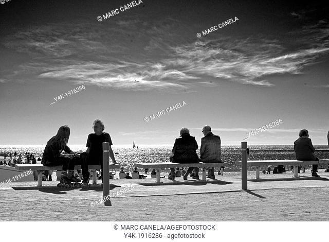 Europe, Spain, Barcelona, Beach
