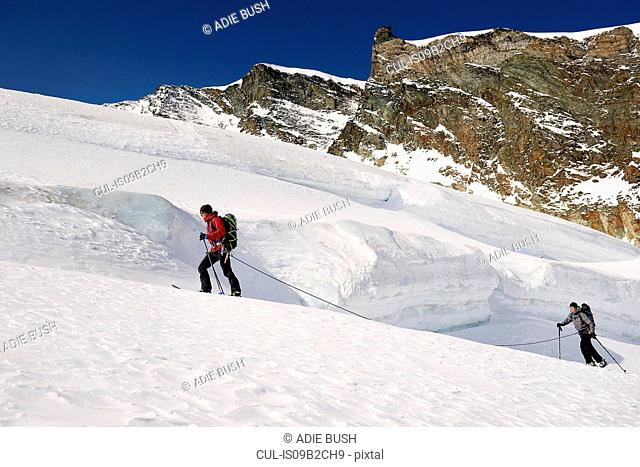 Mountaineers ski touring on snow-covered mountain, Saas Fee, Switzerland