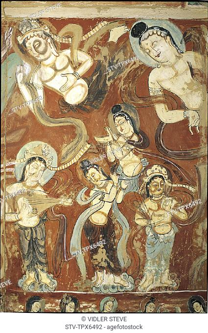 Asia, Buddhist, Cave, Cave paintings, China, Drawings, Dunhuang, Gansu, Heritage, Holiday, Landmark, Mogao caves, Province, Reli