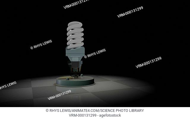 CFL light bulb efficiency. Animation showing the energy efficiency of a CFL (compact fluorescent lamp) light bulb. 60% of the electrical energy of this 30 watt...