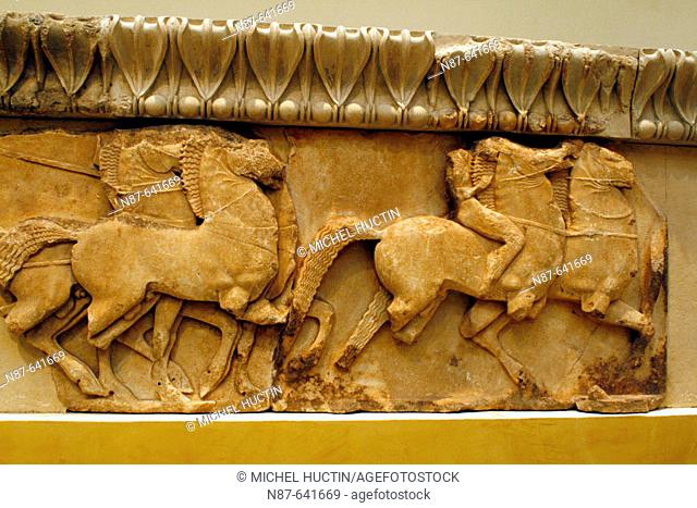 The frieze from the Treasury of the Siphnians decorated with relief representations of mythological scenes. The Museum. Delphi archaeological site