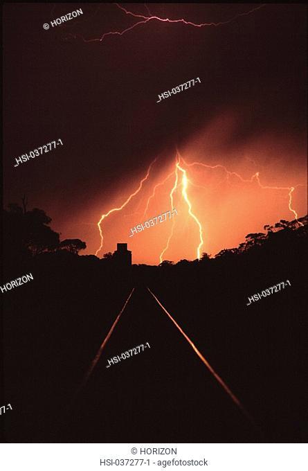 Transport, Railways, Railway track, Lightning