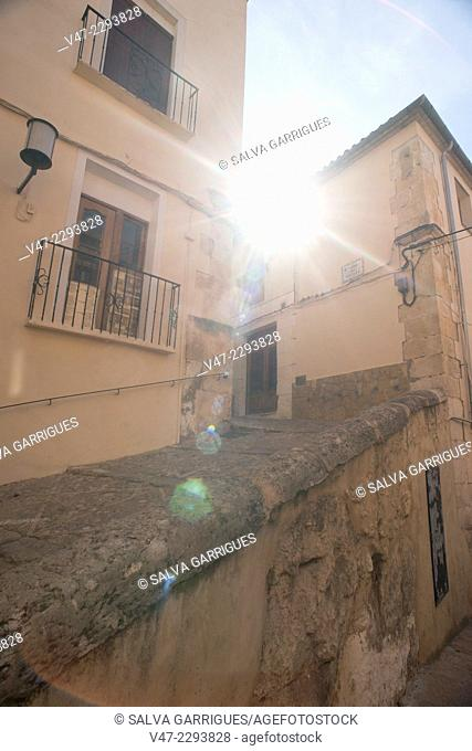 Facades of old houses from the medieval district of Bocairent, Alicante, Comunida Valencia, Spain, Europe