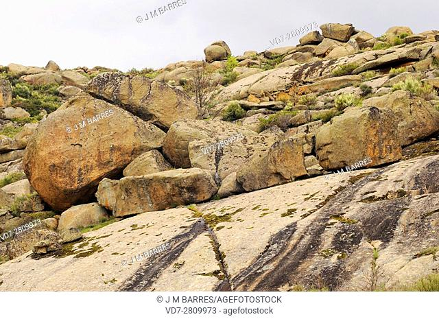 Berrocal or granite relief is a landscape formed by granite an intrusive igneous rock. This photo was taken in Navalosa, Avila, Spain