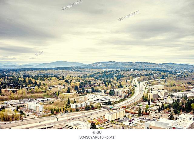 Distant view of Tiger mountain from Lincoln Square, Seattle, Washington State, USA