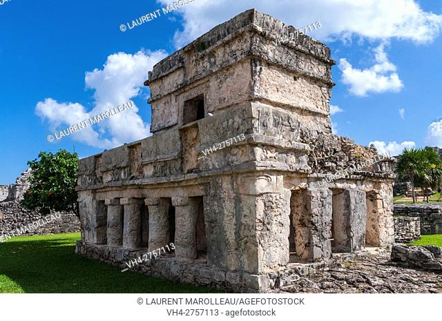Temple of the Frescos, Mayan ruins of Tulum, State of Quintana Roo, Yucatan Peninsula, Mexico, North America
