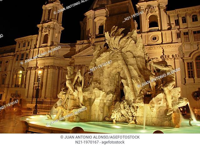 Gian Lorenzo Bernini's Fontana dei Quattro Fiumi in front of Francesco Borromini's Sant'Agnese in Agone Church. Piazza Navona