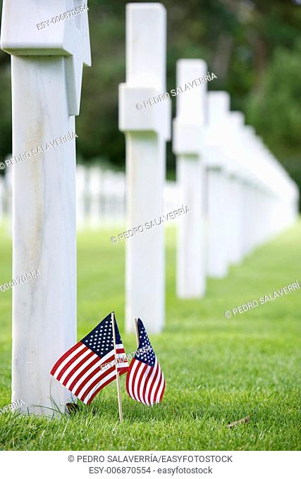 White crosses in American Cemetery, Coleville-sur-Mer, Omaha Beach, Normandy, France