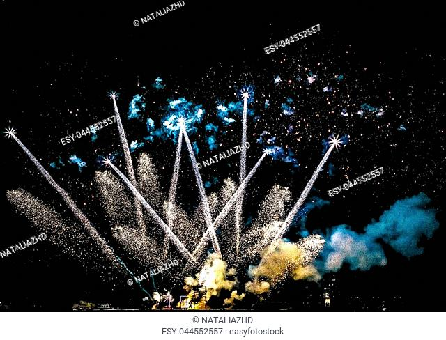 Beautiful fireworks at night, happy new year 2019