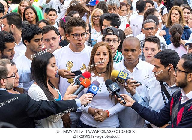Rafaela Requesens, president of the Federation of University Centers of the Central University of Venezuela (FCU-UCV), gives statements to the press in the...