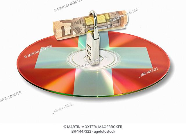 Bill, lock, data, on a CD, DVD, Switzerland, account data